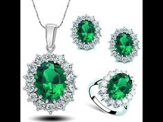 2a88892d65c6a9 Kate Middleton Jewelry Set Oval Crystal Halo Necklace Earrings Ring Brid...  Heart Pendants