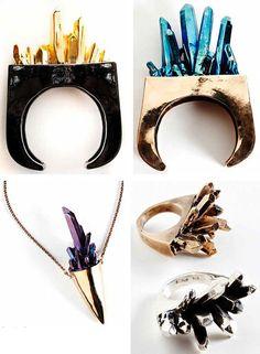 pamela love quartz druzy raw stones minerals jewelry