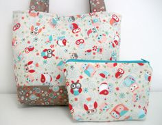 Owl Purse and Cosmetic Pouch Set by MidnightCreations on Etsy, $36.00