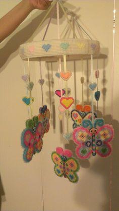 Butterflies & Hearts Mobile 3 - Plastic canvas by sanzosgal