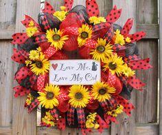 Sunflower Wreath, Wreath With Cat, Cat Wreath, Front Door Wreath, Door Decor, Everyday Wreath, Sunflower, Deco Mesh Wreath, Black Red Wreath