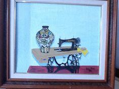Maquina de cosir , pintura al oli sobre tela