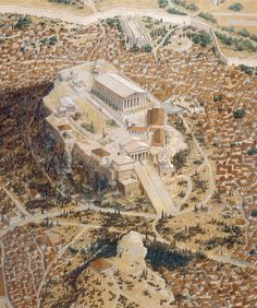 The Acropolis of Athens as it would have appeared in the classical (ca. The Acropolis was destroyed by the Persians in 490 BC and rebuilt to even greater levels of splendor. Visible are the famous Parthenon, Erechtheion, and Propylaia. Architecture Antique, Ancient Greek Architecture, Historical Architecture, Greek History, Roman History, Ancient History, Ancient Greek Art, Ancient Greece, Classical Greece