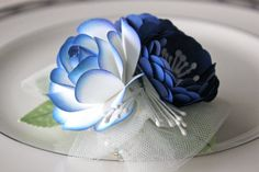 Cobalt Blue Paper Flower Corsage Weddings by BloomingBridges