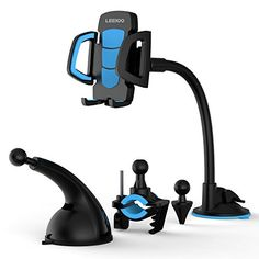 Leeioo Car&Bike Mount Holder4-in-1 Universal Windshield/Dashboard/Air Vent Car Mount Cradle Holder for iOS/Android Smartphones of iPhoneNokiaMotorola (Blue phone holder)