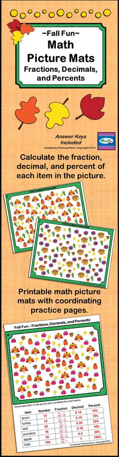 Fall Fun Math Picture Mat for upper elementary students ($)