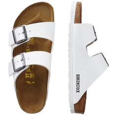 Birkenstock Birko-Flor Arizona Sandals ($100) ❤ liked on Polyvore featuring shoes, sandals, white, travelsmith, animal shoes, platform sandals, travel shoes and patterned shoes