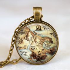 Peter Pan Neverland map  antique bronze necklace