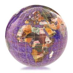 Gemstone Globe Paperweight Amethyst (Free Shipping)  Gemstone globe is handmade with a variety of semi precious stones that are individually hand carved to represent each country.   Each gemstone globe paperweight features 25 semi precious stones selected from countries around the world and, where possible, show the country of origin. Longitude, latitude and international date lines are added with a fine gold or silver thread.
