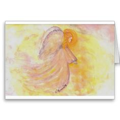 Watercolor Christmas Cards | Pink Angel Watercolor Greeting Card from Zazzle.com