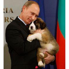 President Vladimir Putin and his Bulgarian shepherd. The dog is so cuteeee!!!  (p/s: no politics talks please!)