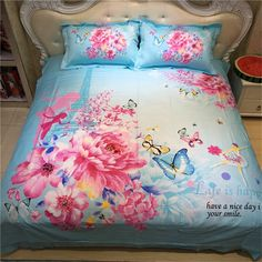 EsyDream 500TC Cotton Butterfly Pink Floral Print 3D Bedding Sets For Girls New Year Gift Queen Full Size 100% Cotton Material //Price: $51.02 & FREE Shipping //     #hashtag3