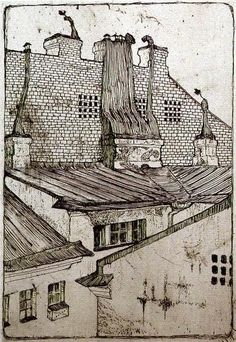 Rooftops, 1901 by Mstislav Dobuzhinsky. Symbolism. cityscape