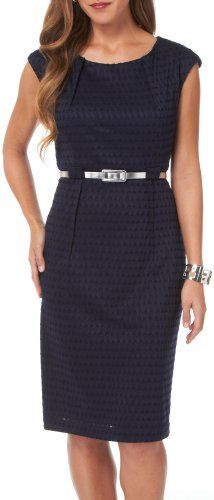 Connected Apparel Petite Cutout Belted Dress $42.00