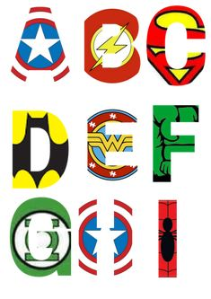 Free printable superhero alphabet letter templates for Superhero party decor, superhero party invitations, a birthday card or even a bedroom sign Superhero Party Invitations, Superhero Party Games, Birthday Party Invitations Free, Superhero Birthday Party, Boy Birthday Parties, Batman Party, Birthday Games, 5th Birthday, Superhero Labels