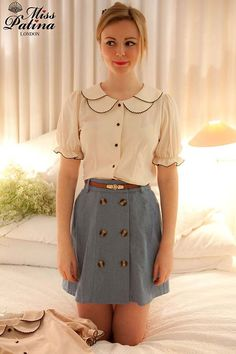 """The princess blouse has curved seams going down the from and back of the shirt. The seam starts at the waist and extends to the arms. These seams creat a more tailored fit on the blouse. """"Product RSS."""" Miss Patina. Miss Patina London, n.d. Web. 18 Feb. 2013."""