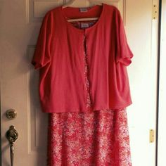 """Bright, floral, coral sweater dress set Every time I wore this,  I got complimented. I usually wore it for a holiday like Easter or Mother's Day. It was so bright and pretty! And SO easy to care for! The dress looks like new, and the sweater, almost new. The sweater has a hook clasp at the top. The dress is definitely more orange-y in color than the pics look. The first pic comes close, but it's still a little too pink/red. From the pit to the bottom of the dress is 41"""". Dresses"""