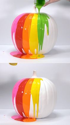 Paint your pumpkin with the colors of the rainbow! Try this colorful no-carve option this fall to give your autumn decor a vibrant, playful touch.