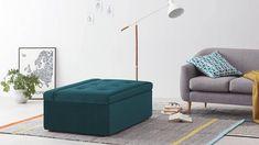 Ilma uitklapbare poef, waterblauw fluweel | MADE.com Single Couch, Sofas, Convertible, Ottoman, Carpet Flooring, Small Apartments, Sea Foam, Blue Velvet, Sofa Bed