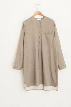 Button-Down Stripeed  Dress, Brown