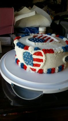 My red white and blue cake. I think if I had left off the hearts and stars around the sides, less would have been more