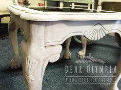 French style shabby chic side table painted in CeCe Caldwell's Paints Tahoe Taupe, dry brushed with Vintage White and sealed with Endurance Finish. Natural chalk + clay paint. #dearolympia #cececaldwells #paint