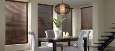 Wood blinds offer a warm traditional look in any setting. They are available in different wood stains as well as textures for a more natural feel. We recommend Graber, Levolor, or Century wood blinds. Room, Home, Window Styles, Metal Blinds, Cool House Designs, Horizontal Blinds, Woven Wood Shades, Wood Blinds, Blinds