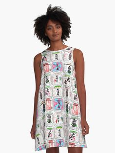 'Japanese Sake Barrels' A-Line Dress by jollybirddesign Cute Skeleton, Japanese Sake, Woman Face, Barrels, Chiffon Tops, Dress Fashion, High Neck Dress, Summer Dresses, Female