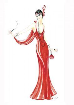 Art Deco Lady - Daphne Painting  - Art Deco Lady - Daphne Fine Art Print