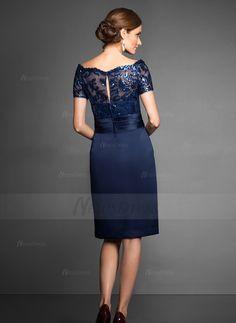 Sheath/Column Off-the-Shoulder Knee-Length Satin Mother of the Bride Dress With Appliques Lace Sequins (0085057605) - Vbridal
