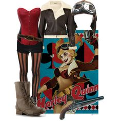 Harley Quinn Bombshell Cosplay, created by alittletoulouse on Polyvore