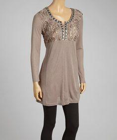 Another great find on #zulily! Ecru Rosette Silk-Blend Tunic by Pretty Angel #zulilyfinds