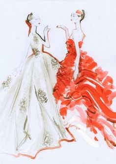 fuckyeahfashioncouture:  Sketches of Christian Dior Haute Couture Spring 2012.
