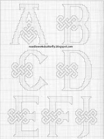 Celtic alphabet - 1 of 4 : Needle-Works Butterfly: CROSS STITCH PINCUSHION AND NEEDLE CASE
