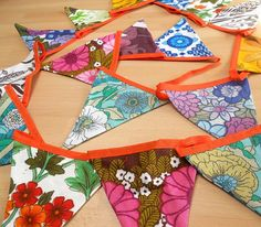 LONGER length  RETRO  Bunting   Vintage  60s / 70s by WittyDawnUK