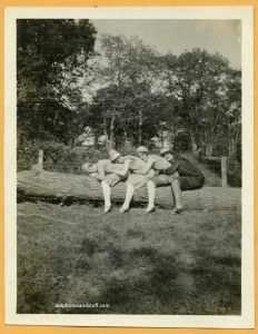1920's Vintage snapshot of flappers straddling a log while leaning on each other. - For Sale. - #foundphotos #vintagephotos #vintagesnapshots #oldphotos #snapshots
