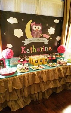 Dessert table at an owl birthday party! See more party ideas at CatchMyParty.com!