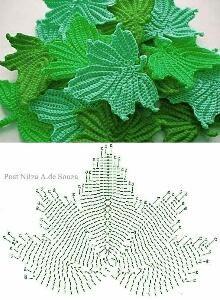 Crochet leaves ♥️LCF-MRS♥️ with diagram.