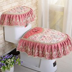 3 Pieces Lace Thicken Toilet Seat Cover/Lid Cover/Tank Cover Set Toilet Mat Toilet Accessories Toilet Warmer Cover Install with Zipper Design Toilet Mat, New Toilet, Toilet Ring, Warm Bathroom, Bathroom Sets, Toilet Tank Cover, Bathroom Crafts, Toilet Accessories, Wc Sitz