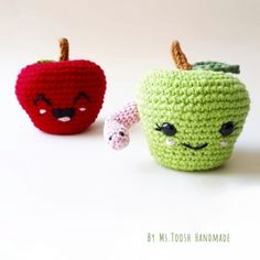 elma ve kurtçuk amigurumi desen