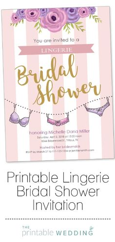 cc16364db9c9a This adorable bridal shower invitation is perfect for those brides having a lingerie  shower before the