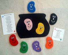 Jelly Bean Stew and Countdown Flannel Board Felt Story Set with 2 laminated rhymes