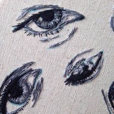 Billedresultat for embroidery eyes Embroidery Art, Cross Stitch Embroidery, Embroidery Patterns, Portrait Embroidery, Couture Main, Techniques Couture, Needle And Thread, Textile Art, Fiber Art