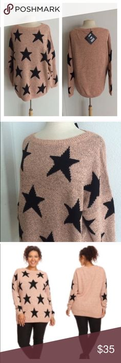 """(Plus) Light pink star sweater 75% acrylic/ 25% nylon. Extremely soft and warm! These are not lightweight sweaters. Very TTS! I am a 2x and the 2x of this fits perfectly with a slightly oversized look. Color is a pink/ orange mixture with some black flecks throughout 2x: L 29"""" • B 52"""" 3x: L 30"""" • B 54"""" ⭐️This item is brand new with manufacturers tags or in original packaging. 🚫NO TRADES 💲Price is firm unless bundled 💰Ask about bundle discounts Availability: 2x•3x •3•1 Sweaters Crew…"""