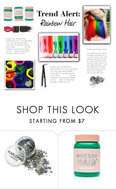 """""""Rainbow Hair Contest Entry!"""" by mothernaturesdaughter ❤ liked on Polyvore featuring Lime Crime, Avon and Conair"""