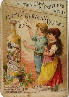 CARTEL DE PROPAGANDA DE COLONIA. trade card . with a doll