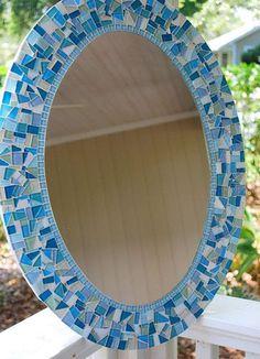 Blue and Aqua Oval Mosaic Mirror // Beach House Wall Decor Mirror Mosaic, Mosaic Diy, Mosaic Garden, Mosaic Crafts, Mosaic Projects, Mosaic Wall, Mosaic Glass, Mosaic Tiles, Glass Art