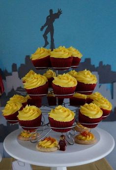 Cupcakes and cookies at a Avengers Iron Man birthday party! See more party ideas at CatchMyParty.com!