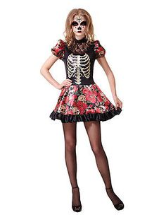 Day of the dead doll women adult #costume fancy dress #halloween mexican #standar,  View more on the LINK: 	http://www.zeppy.io/product/gb/2/191849089575/