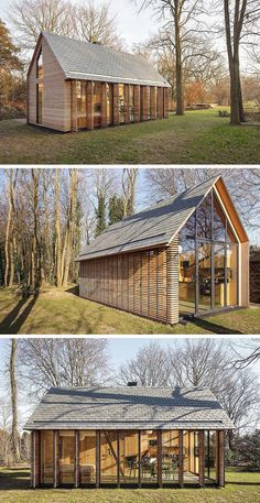Flexible workspace in city parcs please ■ [Zecc Architects, together with interior designer Roel Norel, have designed a small contemporary cottage in a rural area north of Utrecht in The Netherlands. Contemporary Cottage, Modern Cottage, Cottage Style, Modern Barn, Modern Cabin Decor, House In The Woods, Future House, Architecture Design, Japanese Architecture